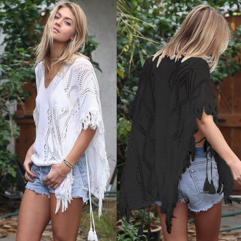 New Chiffon Tassels Blouse Beach wear Women Hollow Out Cover up Swimwear Bathing Suits Summer loose solid Pareo Clothes#GH