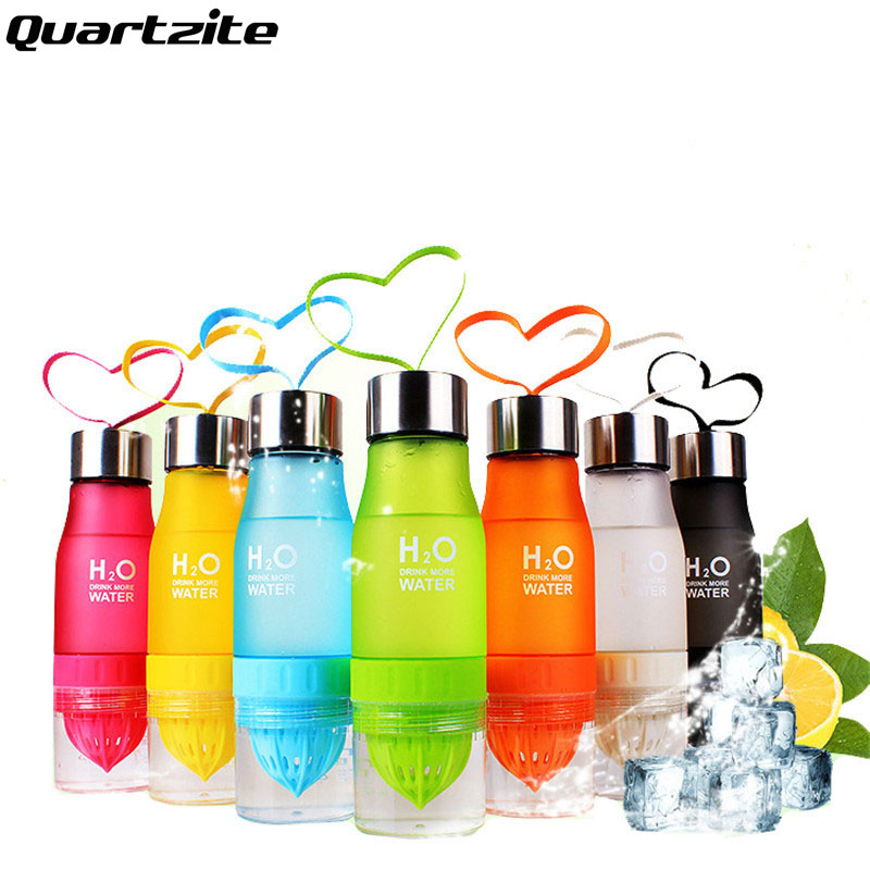 Drinkware 7 colores botella de agua portable 650 ml h20 salud lemon jugo de frut