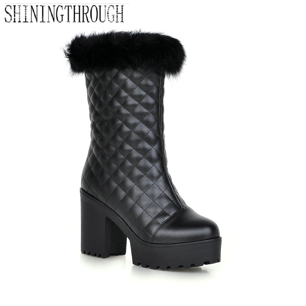 New large size 33-43 winter women boots thick high heels round toe platform shoes solid mid-calf boots winter warm snow boots new fashion winter boots wool flock shoes women boots platform thick high heels mid calf boots two swear big size 34 43 0715