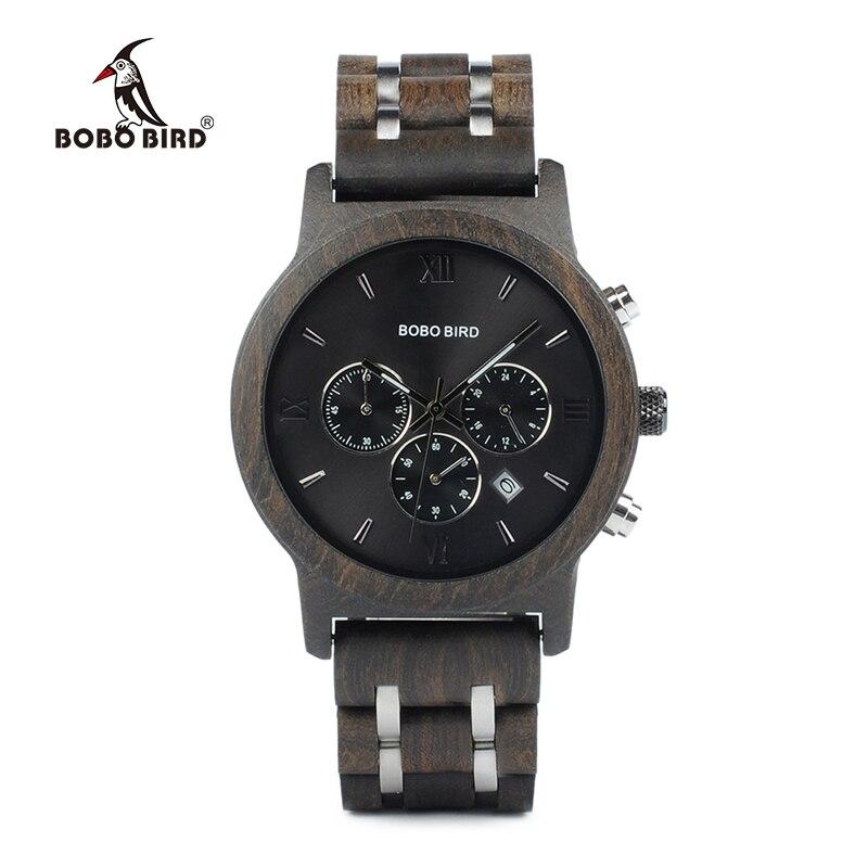 Бобо птица P19 деревянный мужские кварцевые часы Дата Дисплей Бизнес часы Ebony и зебрано варианты Валентина подарок