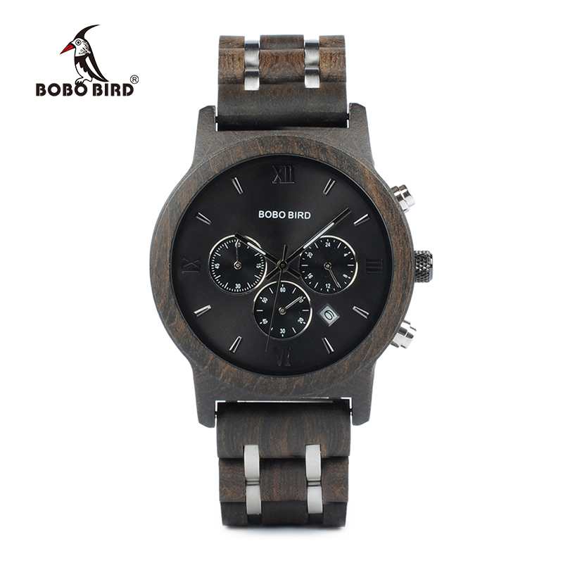 BOBO BIRD P19 Vogue Wooden Mens Quartz Watches Date Display Business Watch Ebony & Zebrawood Options Valentines Gift