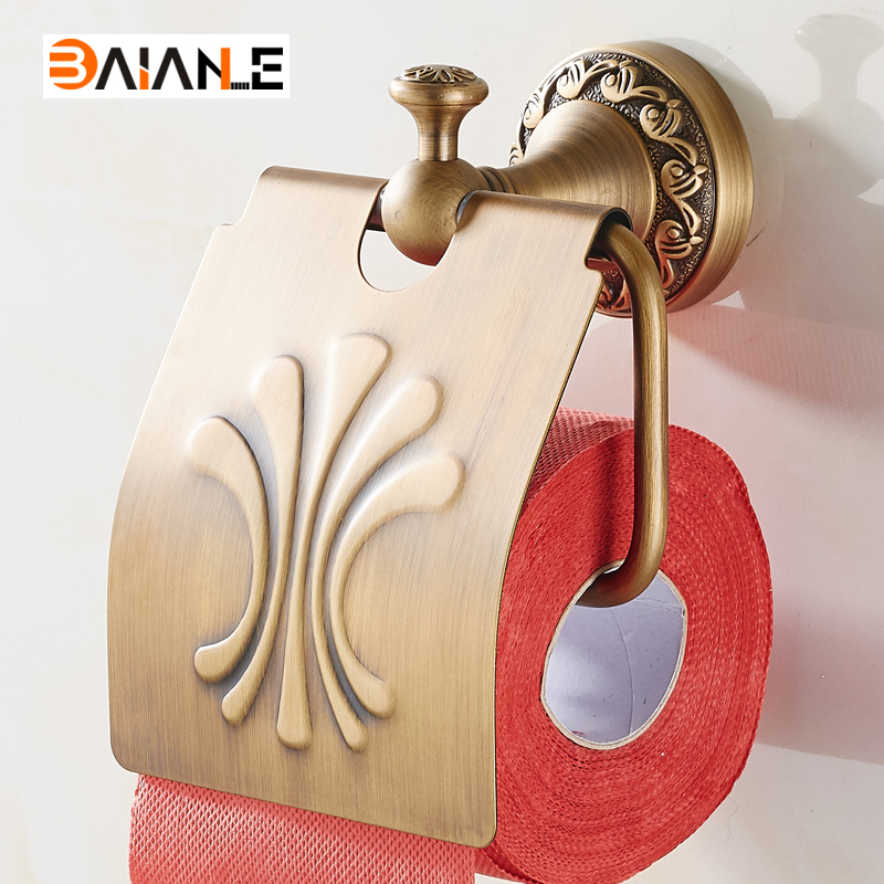 Wall Antique Style Toilet Paper Holder WC Copper Paper Towel Holder Roll Tissue Box Brass Bathroom Hardware black of toilet paper all copper toilet tissue box antique toilet paper basket american top hand cartons