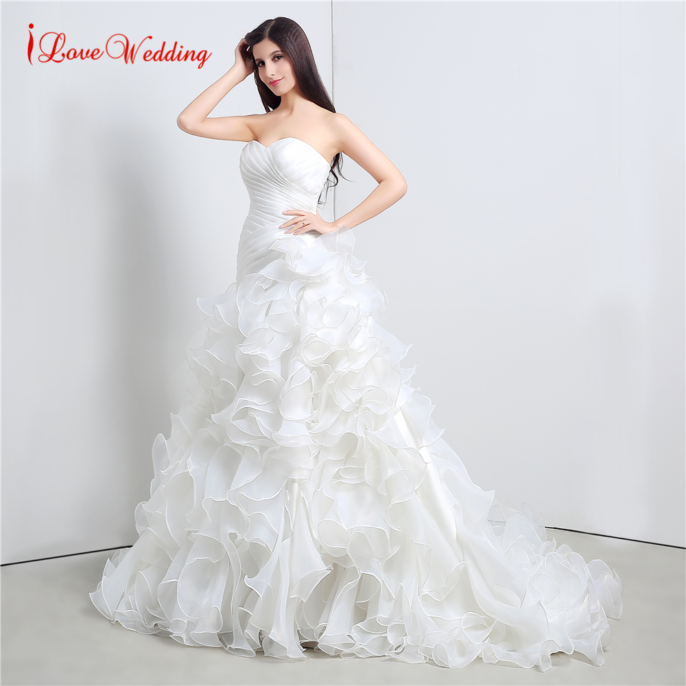 Fashion Organza Ruffle Wedding Dress Vestido De Novia Court Train Bridal Gowns Dress Sweetheart Neckline Ball Gowns
