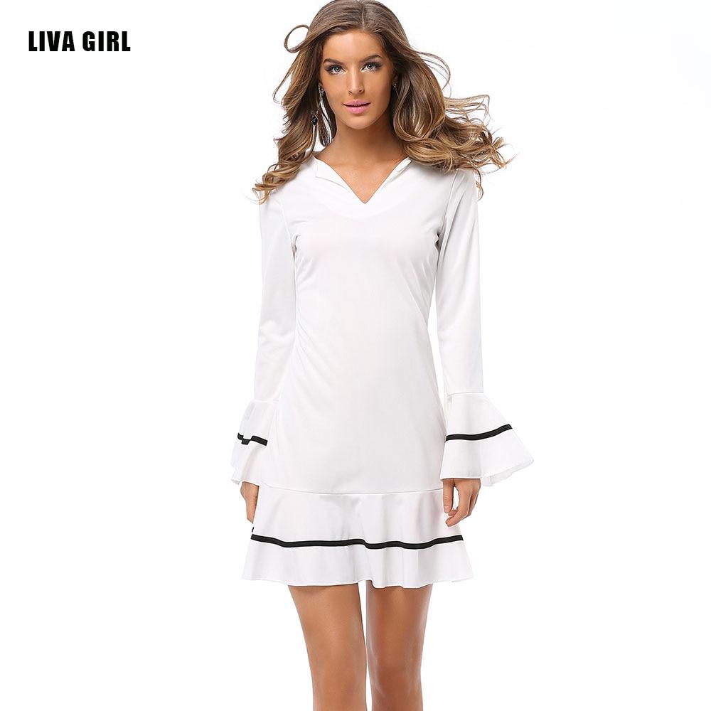 Womens Sexy Neck Long Sleeve White Dress Size