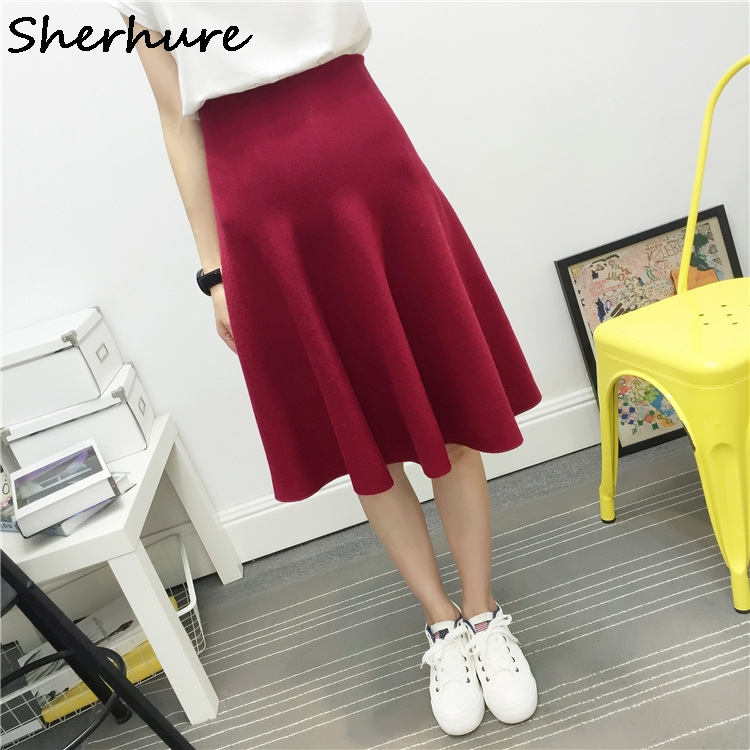 2019 New Sexy Women Knitted Skirt Autumn Winter Solid High Waist Midi Skirts A-Line Pleated Skirt Female Jupe Saia High Quality