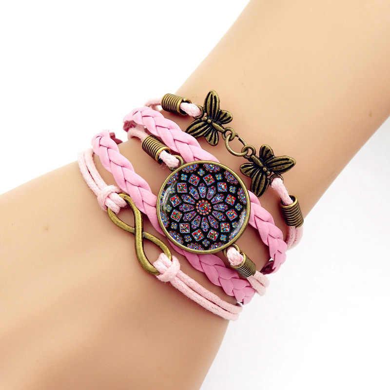 2018 Новое украшенное Стекло розовое время браслет с драгоценными камнями для мужчин многослойное ручной вязки Композитное украшение браслетов для женщин