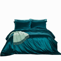 Двустороннее шелковое одеяло пододеяльник Ультра мягкий отель коллекция одеяло крышка с застежкой молнией