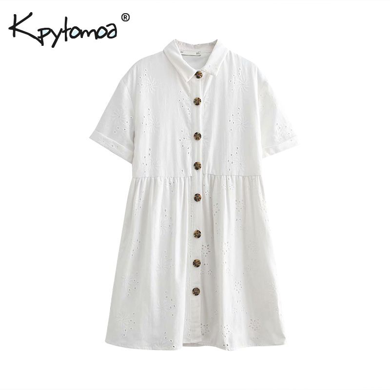 Vintage Stylish Embroidery Mini Dress Women 2019 Fashion Lapel Collar Short Sleeve Hollow Out Dresses Casual Vestidos Mujer(China)