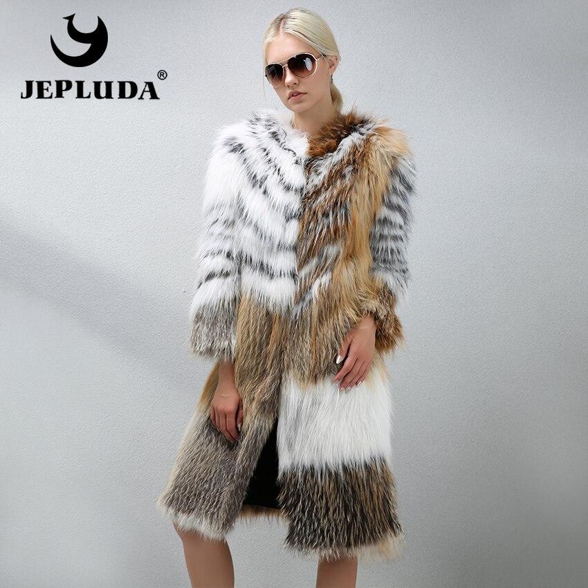 De Fourrure Col Renard Jepluda Chaud Multi O Femmes Veste cou Naturelle Doux Réel Véritable Long Dorée Grâce Luxueux Couleur Manteau x7zqY78w