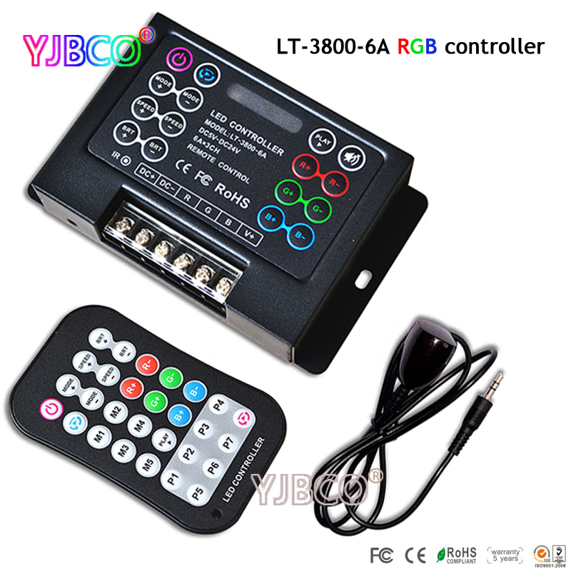 LT-3800-6A Programmable Led RGB Controller with remote ,DC5-24V input;6A*3CH output for led strip lights lamp tape ribbon 6a 12 30 1b yhb 14 k 050405