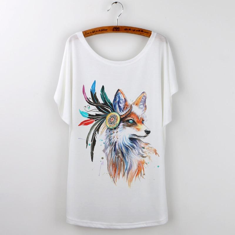 YUGEEL Store 2017 Summer Clothing cute Fox Print Women T shirt Large Size Camisetas Feminina O-Neck Loose t-shirt Female Tops Tee Shirt Femme
