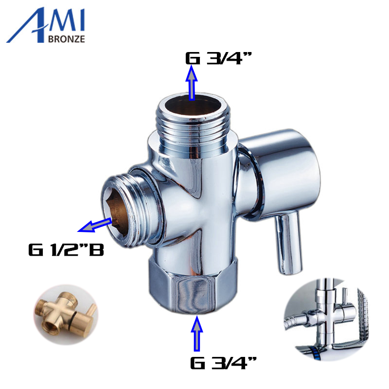 shower diverter 3 4 1 2 bsp for valve mixer rigid riser chrome