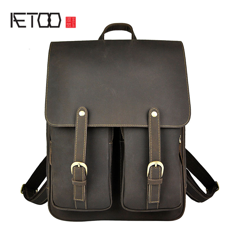 AETOO First layer of leather ham leather leather retro men large capacity 14 inch double shoulder backpack computer bag aetoo spring and summer new leather handmade handmade first layer of planted tanned leather retro bag backpack bag