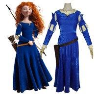 Adult Merida Princess Blue Outfit Orange Wig Set Brave Girl Cosplay Top Dress Belt Hearwear Quiver Halloween Cosplay Costume