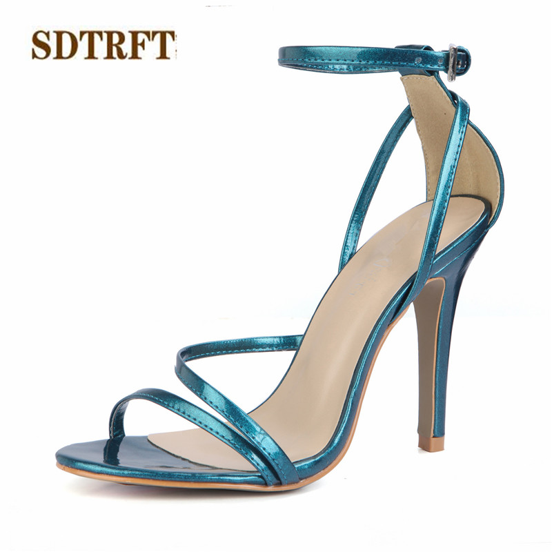 SDTRFT zapatos mujer Summer Stiletto sexy sandals 10cm Thin High-Heeled Buckle shoes woman Patent Leather pumps Plus:35-42 43