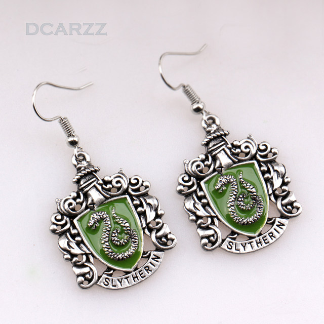 5 Styles Hp Hogwarts Enamel Drop Earrings Ravenclaw Hufflepuff Gryffindor Slytherin Movie Jewelry Whole