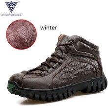 WEST SCARP Men Shoes Winter Warm Plush Fashion  Men Ankle Boots, 100% Genuine Leather Shoes Men Boots Casual Zapatos Hombre