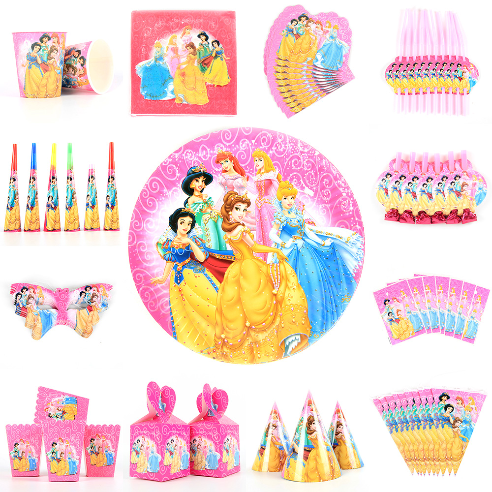 Disney Princess Happy Kids Girls Birthday Party Decoration Set Party Supplies Cup Plate Banner Hat Straw Loot Bag