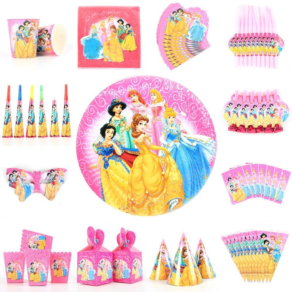 Комплект для празднования дня рождения принцессы для девочек, праздничные принадлежности, чашка, тарелка, баннер, шляпа, соломенная сумка д...