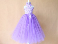 Piękna elegancka puszyste fioletowy princess tutu sukienka Wstążka Dziobu 2 warstwy długi tutus dla dziewczyn forbirthday Wedding Party Festival