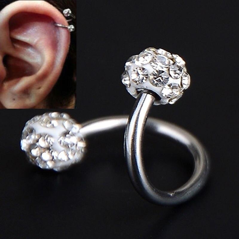 Crystal Stainless Steel Twist Ear Helix Cartilage Earring Stud Body Piercing 1p