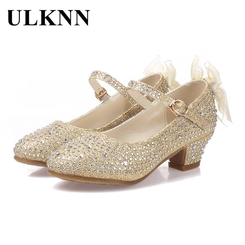 ULKNN Spring Kids Girls Shoes Princess Girls Sandals Leather Shoes Children Party Sandal For Girl High Heel Shoe Sapato Infantil
