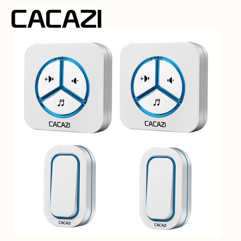 CACAZI Battery Doorbell Wireless Waterproof Call Smart ring bell Household 280M Remoto 48 Songs US EU UK Plug Transmitter button цены