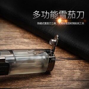 Image 2 - Encendedor Turbo potente de Triple antorcha a prueba de viento, encendedor de Gas de tubo con chorro de fuego, Metal con cortador de puros, PISTOLA DE PULVERIZACIÓN 1300 C butano
