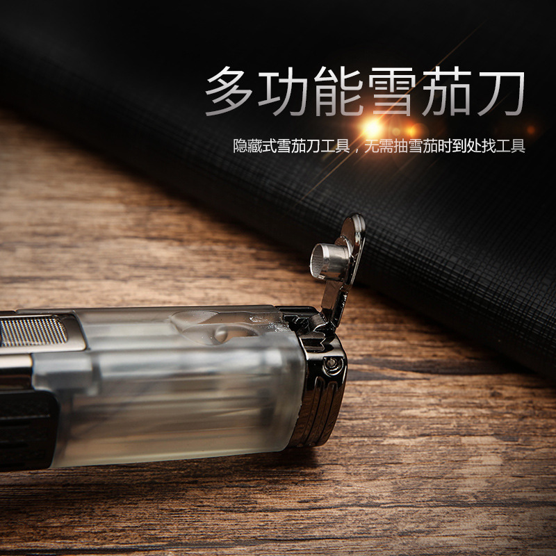 Image 2 - New Windproof Torch Turbo Lighter Three Nozzles Fire Jet Pipe Gas Lighter Metal With Cigar Cutter Pen Spray Gun 1300 C Butane-in Matches from Home & Garden