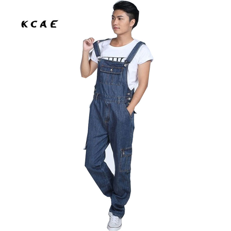 S-5XL 2015 Men's fashion pocket denim overalls for boys Male casual loose jumpsuits Plus large size jeans Bib pants fashion casual loose denim overalls men large size 46 cargo pants male jeans jumpsuits spring vintage sexy denim trousers 062909