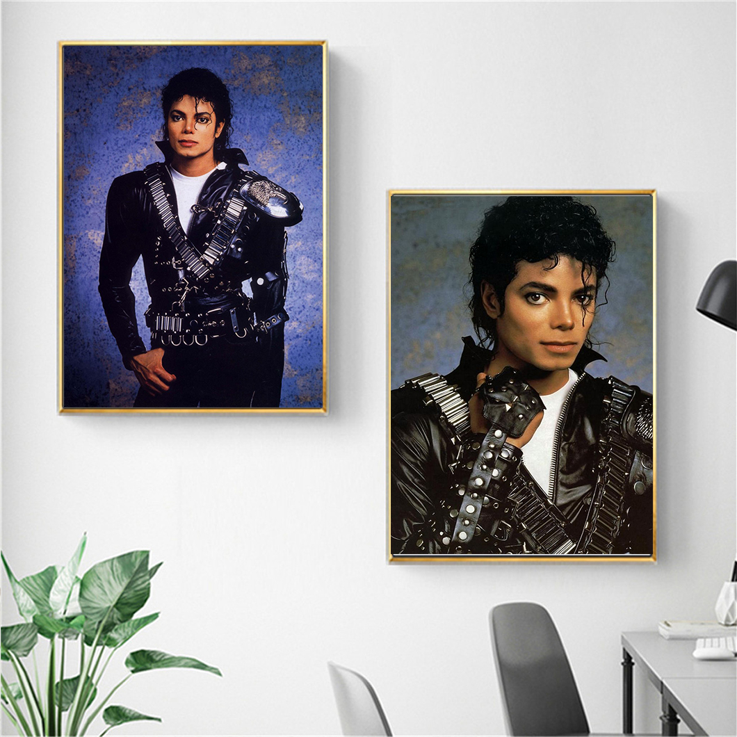 Black and White Series vintage poster Michael Jackson.canvas pianting for Living Room Wall Art Pictures No Frame