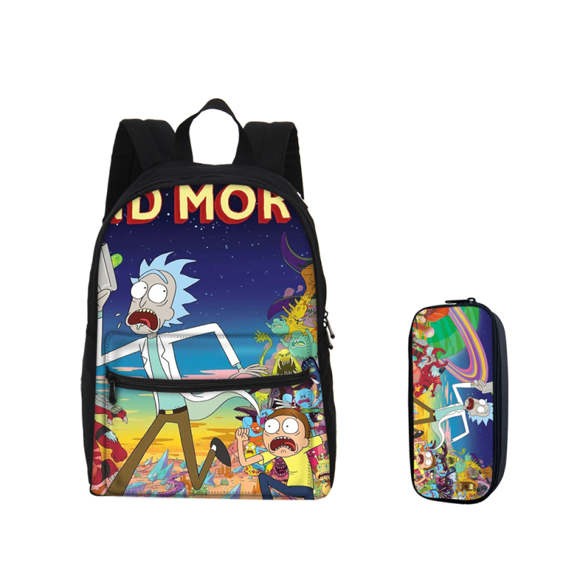 VEEVANV 2 PCS/SET Backpacks For Boys Girls Bookbag Cartoon Rick And Morty Prints Backpacks With Pencil Pouch Children MochilaVEEVANV 2 PCS/SET Backpacks For Boys Girls Bookbag Cartoon Rick And Morty Prints Backpacks With Pencil Pouch Children Mochila