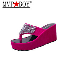 Mvp Boy 2018 Summer Flip Flops Faux Crystal Platform Slipper Beach Creepers Slip On Shoes Woman Casual Slippers Eu Size 35-39 hee grand solid platform slides 2018 slip on wedges beach summer casual shoes woman fashion creepers slippers 3 colors xwt1057