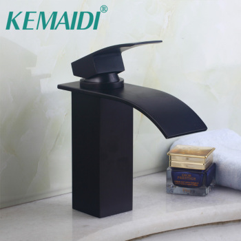 KEMAIDI High Quality Deck Mounted Black Oil Rubbed Bronze Basin Faucet Cold and Hot Bathrom Faucet Torneira Banheiro