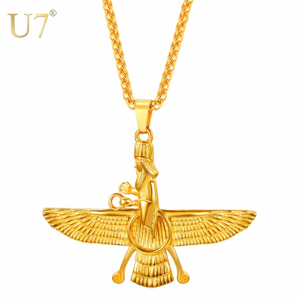 U7 necklace stainless steel faravahar iranian vintage pendant chain u7 necklace stainless steel faravahar iranian vintage pendant chain for menwomen gift goldblack color jewelry necklaces p1131 in pendant necklaces from aloadofball Choice Image