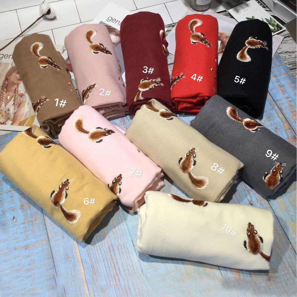 YOUHAN 2018 Luxury Winter Scarf Women Warm Cashmere Squirrel Embroidery Scarves Shawl Wrap Blanket Hijab Scarf Drop Shipping