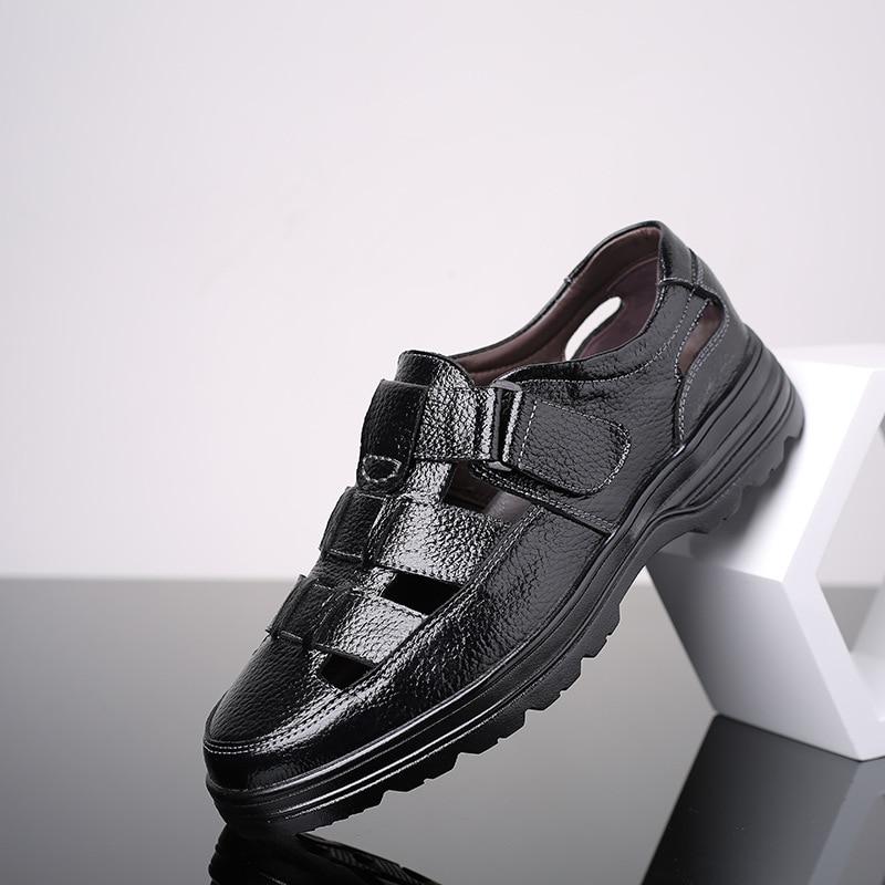 Classic Men Soft Sandals Comfortable Men Summer Shoes Leather Sandals Big Size 48 Sandals Men Roman Breathable Men Casual Shoes