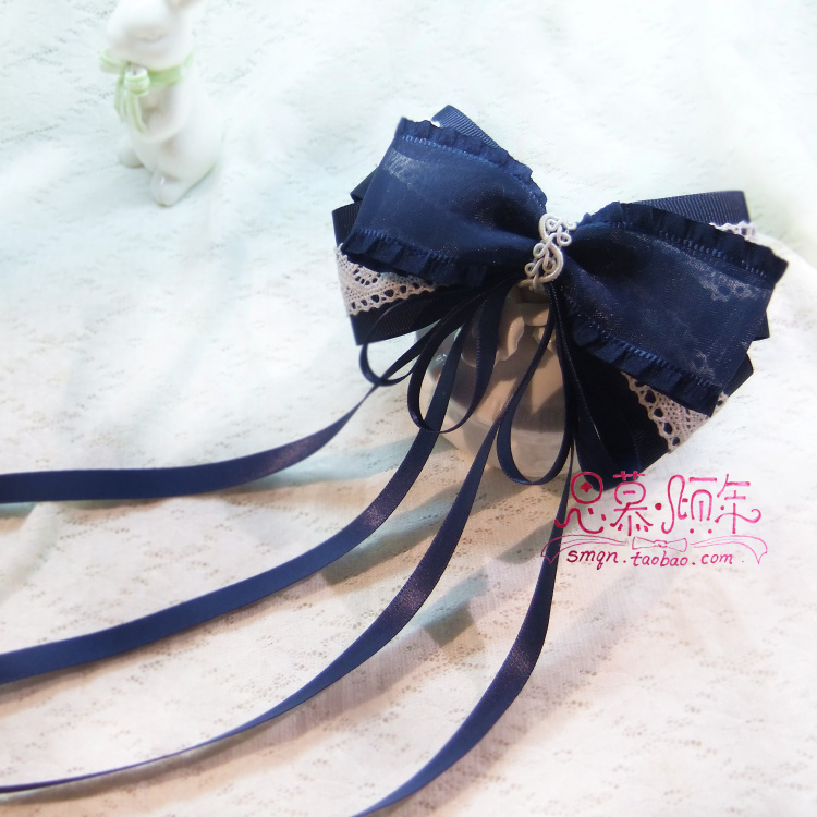 Sweet lolita princess Blue South Korean satin belt sheer bandeaus handmade ultralarge bow hairpin hair accessory рубашка в клетку dc south ferry 2 south blue