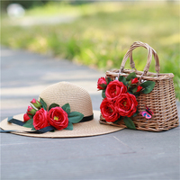 Floral Straw Totes Hat Set Vintage Women Beach Bags Fashion Summer Red Bags Straw Hat Handmade Flower Bags for Travel Holiday