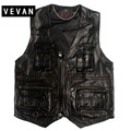 2016 men    autumn and winter More than a pocket The first layer cowhide leather vest