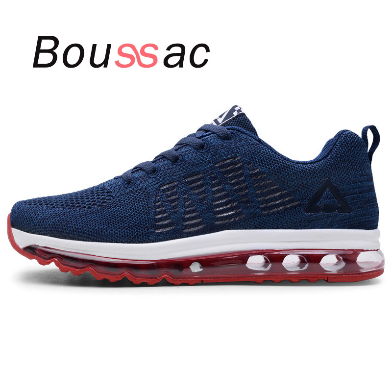 Full palm air cushion flying woven breathable 2018 new running sports shoes men increase control men shoes spring summer