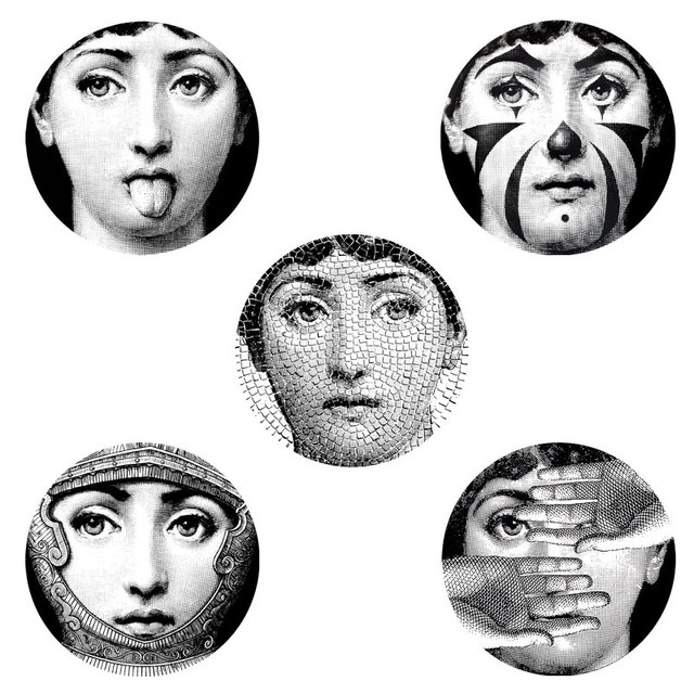 5 PCS Set Designer Fornasetti Transparent Wall Stickers Pattern Wallpaper Separated Painting DIY Decoration