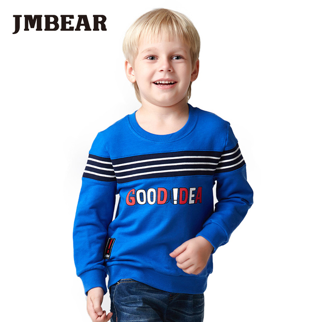 JMBEAR 2-6 years boys hoodies girls cotton tops O-neck kids t-shirt letter good idea cartoon clothing for children 2016 new