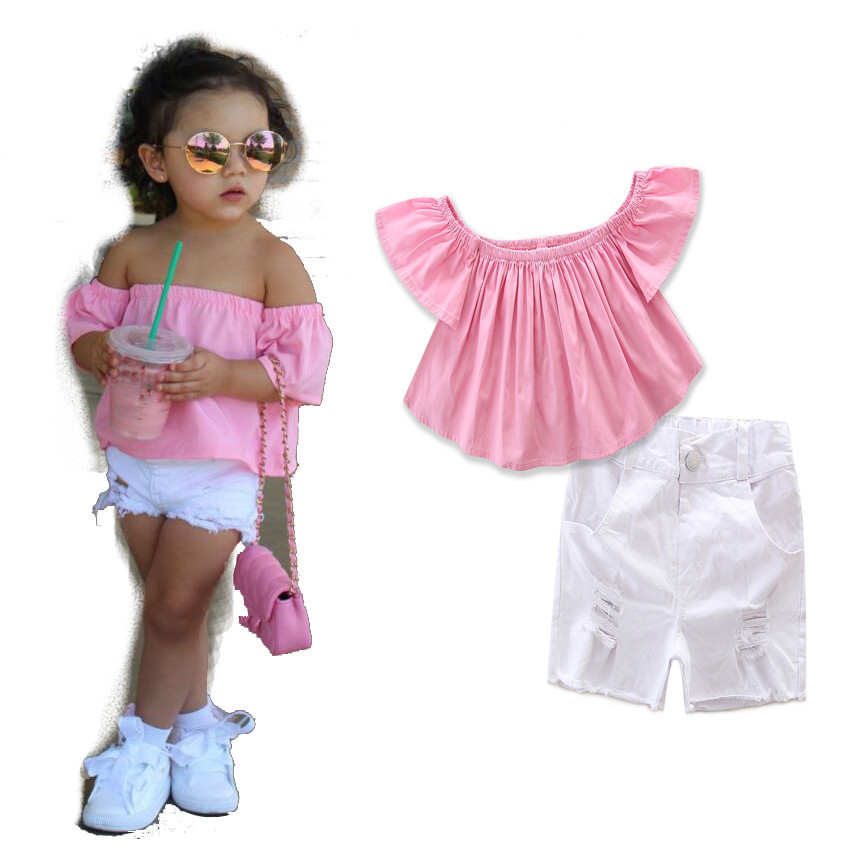 2018 new Summer Fashion baby girl's clothing sets cotton girl 2pieces suit set child pink shirts/blouse+white shorts kids sets