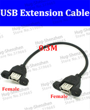 цена на Black 0.5m USB 2.0 female to USB Female Adapter Connector Panel Mount Extension Cable Cord With Screw Hole EARS 50pcs/lot