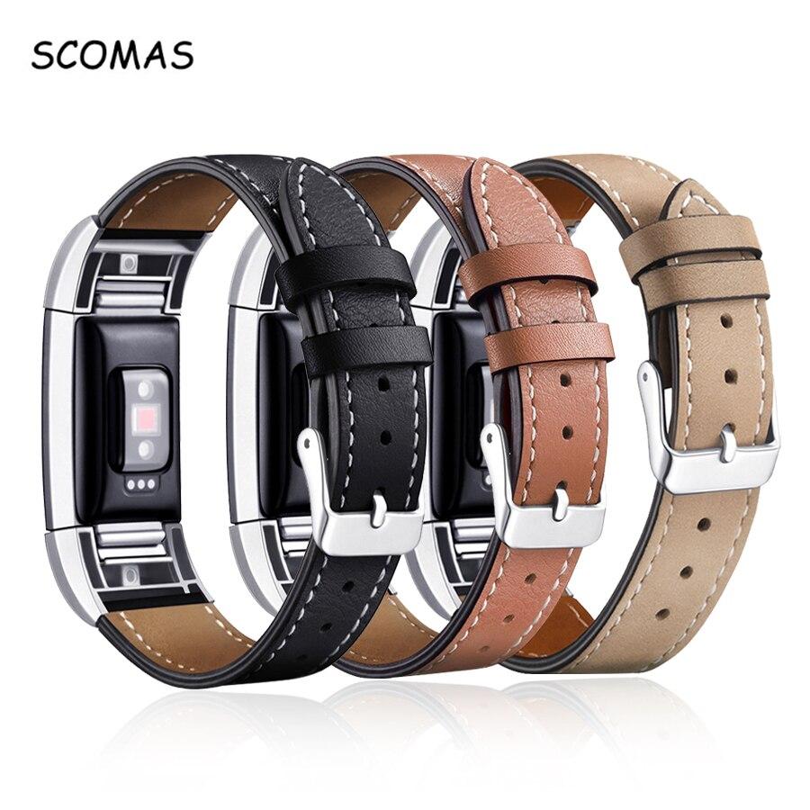 SCOMAS Ersatz Handgelenk Band für Fitbit Gebühr 2 Band Leder Schließe Stecker Armband Band für Charge2 Uhr Zubehör