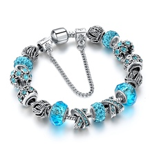 2017 Fashion Jewelry 925 Silver Charm Bracelets For Women Blue Crystal Beads Bracelet Female Pulseras Mujer SBR160158