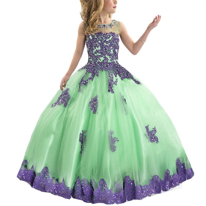 Sleeveless New Summer Flower Girl Dress Kids Ball Gowns First Communion Dresses Pageant Girls Floor Length Tulle 2-14Y