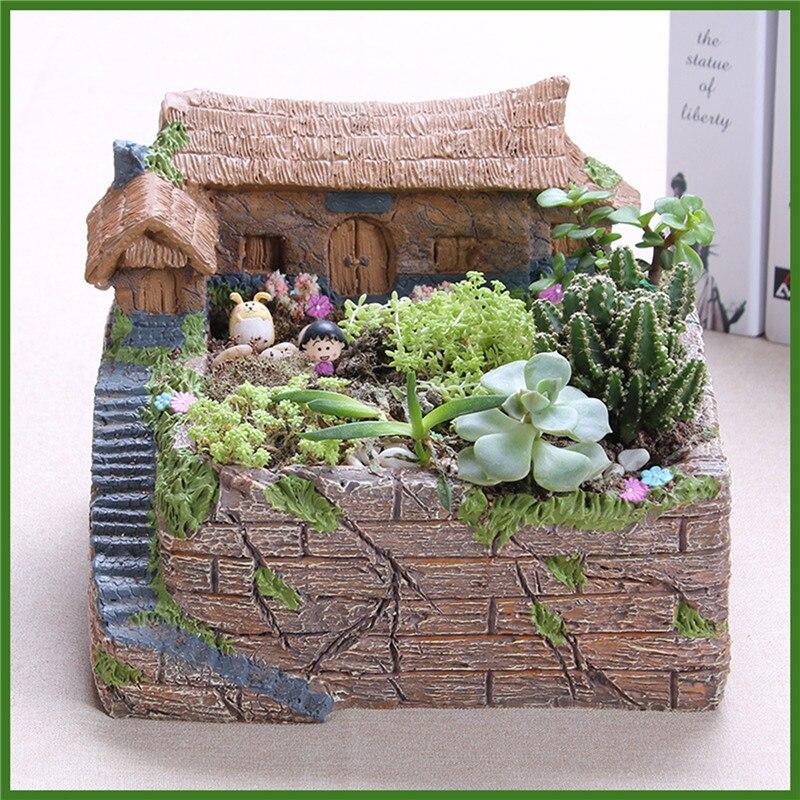 jardn de hierbas interior de estilo pastoral de resina jardineras macetas macetas jardn planta planter suculentas