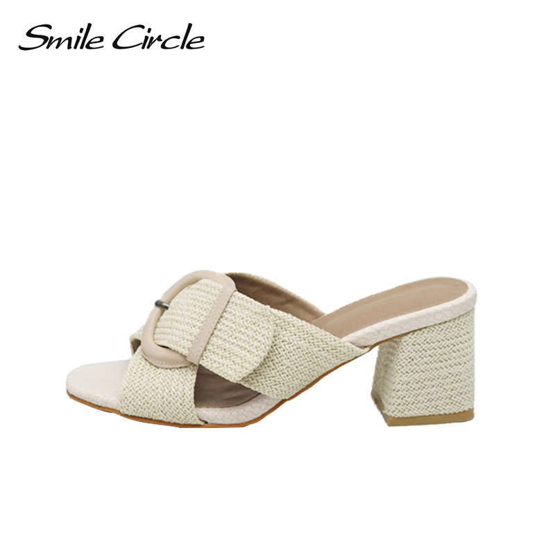 Smile Circle 2018 Summer slippers Sandals Woman shoes High-heeled shoes Cozy Sandals Women Shoes High heels Women flip flop meilikelin street style women slippers metal chain high heels slides shoes summer women sandals high heel flip flop mules shoes